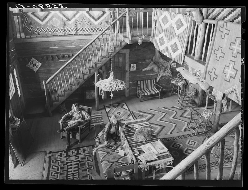 """Interior of the living room of Navajo Lodge. Datil, New Mexico"""