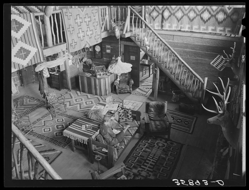 """Living room of the Navajo Lodge. Datil, New Mexico."""