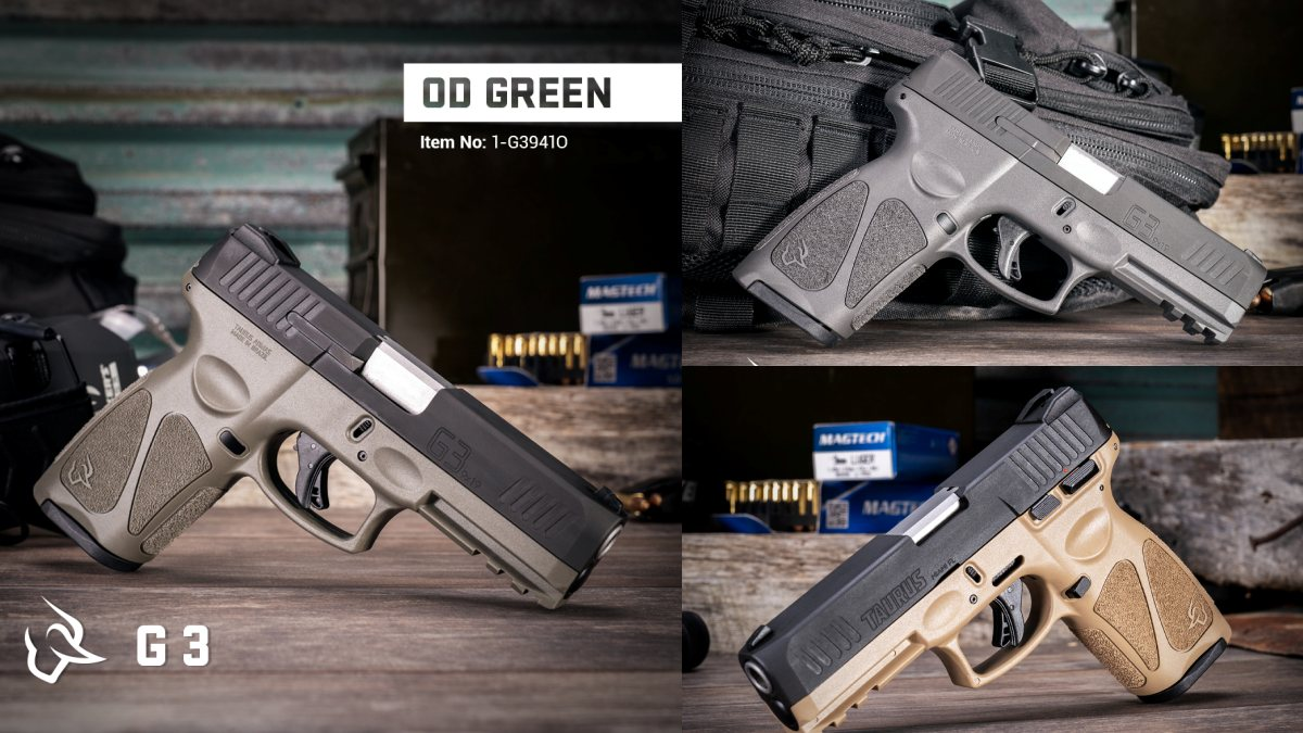 New Sub-$250 Taurus G3 9mm Pistol Now Available in Gray, OD Green and Tan