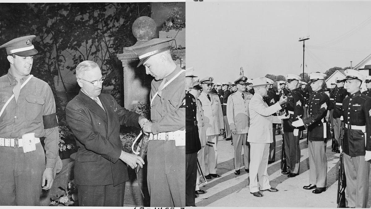 Photograph of President Truman inspecting