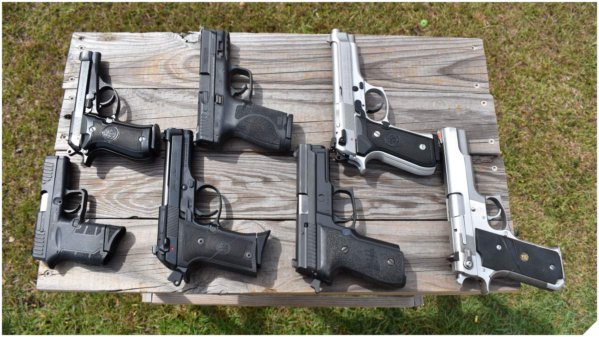 A table showing a number of handguns from Beretta, Smith & Wesson, Sig Sauer and Diamondback