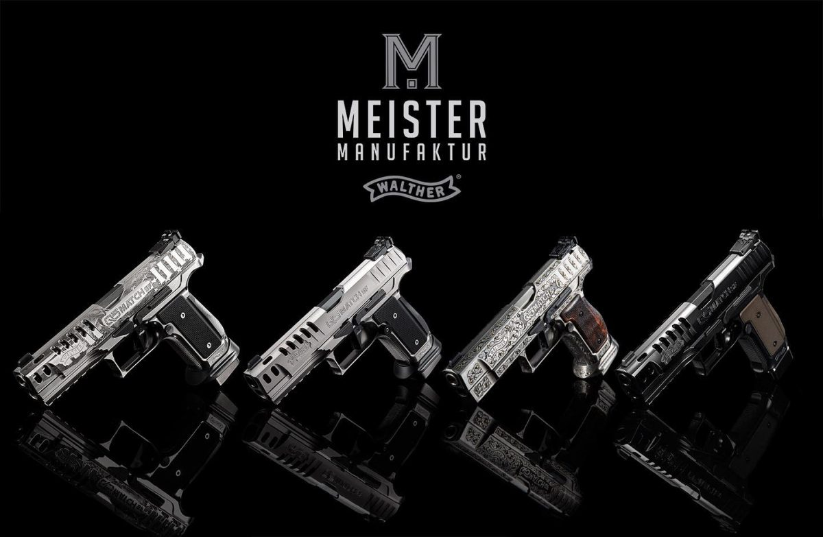 The four Q5 Match SF models in the Walther Meister Manufaktur series include the Patriot, Black Tie, Arabesque, and Black Diamond. (Photo: Walther)