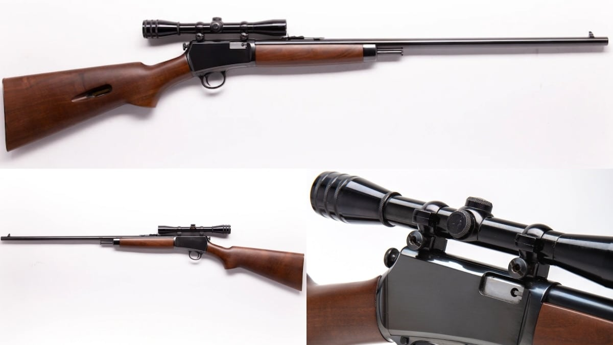 This Model 63 has a Redfield 4x rimfire scope. Towards the end of the gun's production, models were made with factory-grooved receivers for tip-off scope mounts.