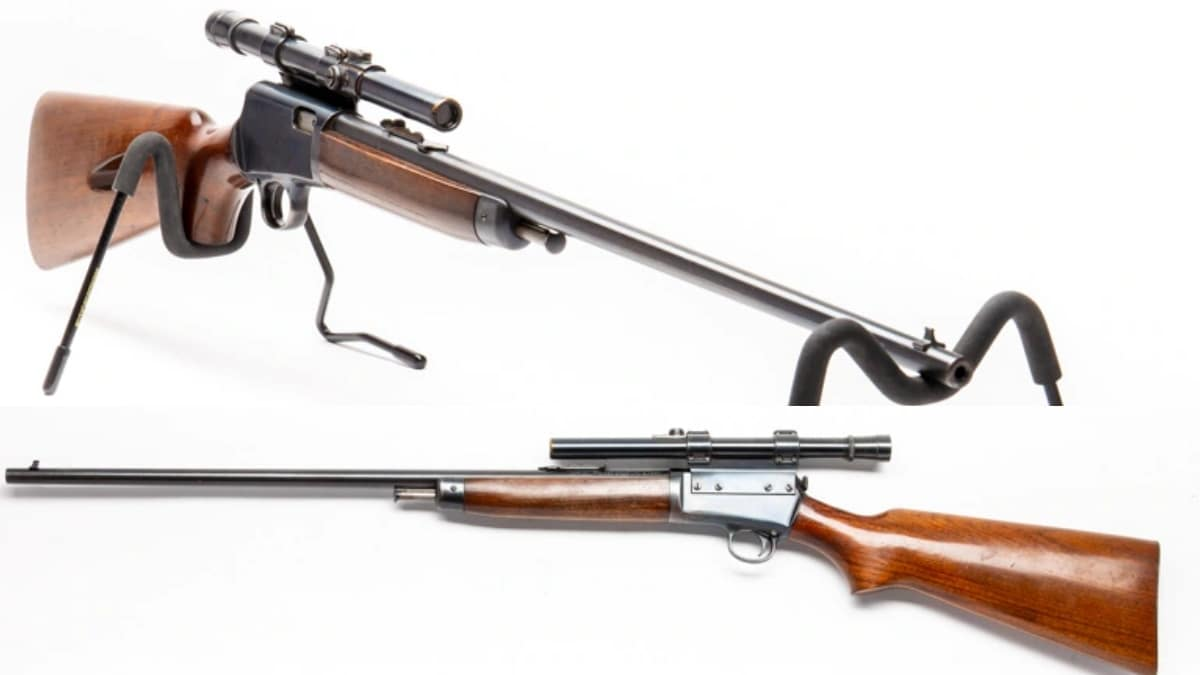 These guns are often encountered with period rimfire optics, such as this 1955 model with an offset fixed-power scope.