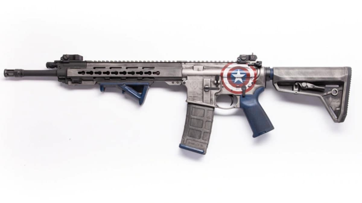 A Captain America-themed Ruger AR556