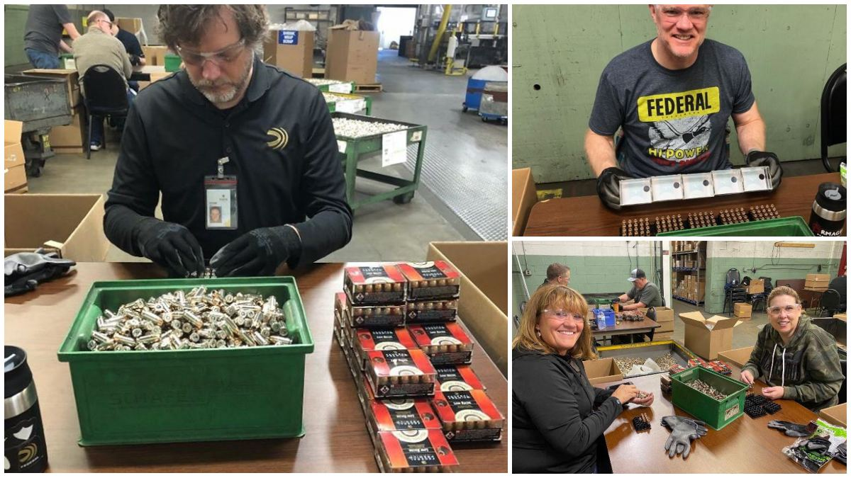 Employees at Federal loading boxes with ammunition by hand (Photo: Federal)
