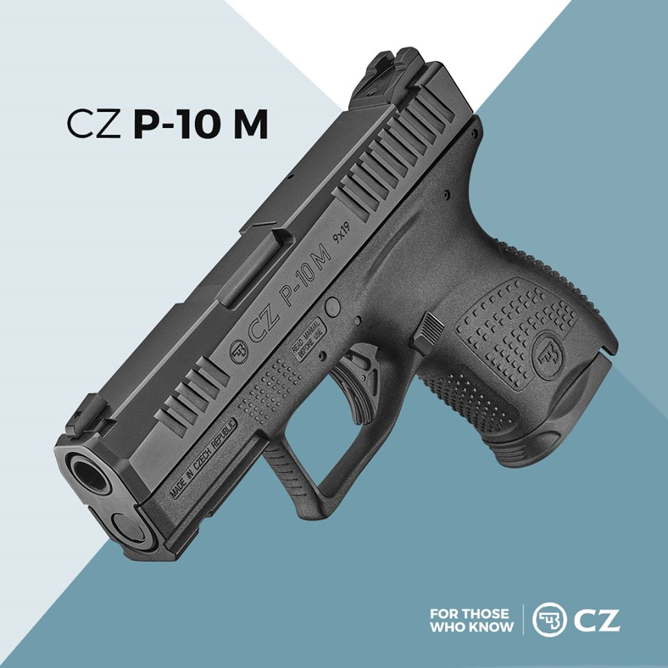 "A catalog image of CZ P-10M pistol with the caption, ""For those in the know"""