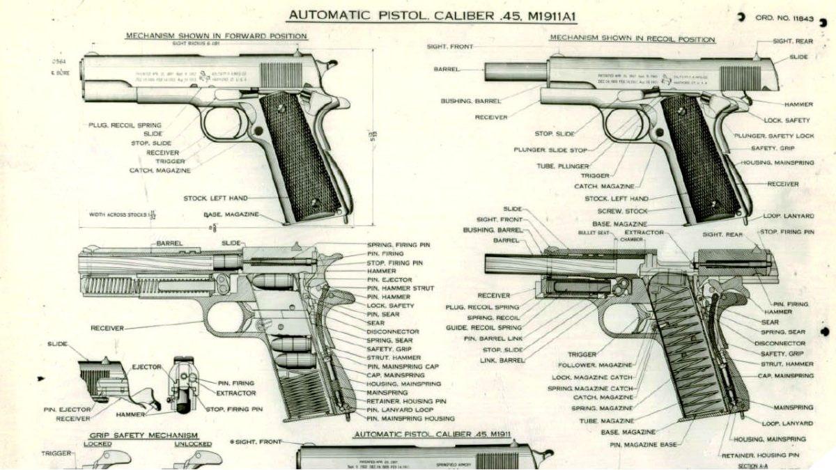 Army technical layout: Aug 1944 Automatic Pistol - Caliber .45 M1911A1 with Data SPAR 4678-SA.A1 a