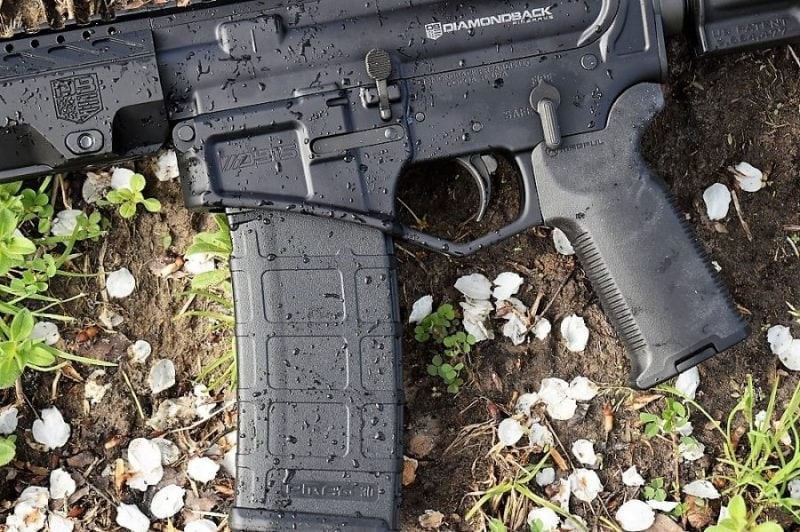 A Diamondback DB15 pistol hanging out in the cherry blossoms, as they are known for