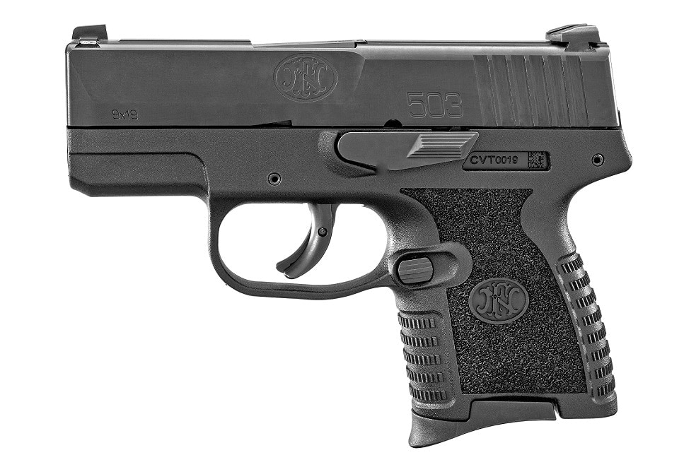 A lightbox view of the FN 503, a small black 9mm subcompact pistol