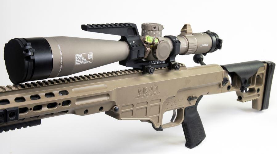 Leupold Mark 5HD scope on Barrett MRAD rifle in lightbox image