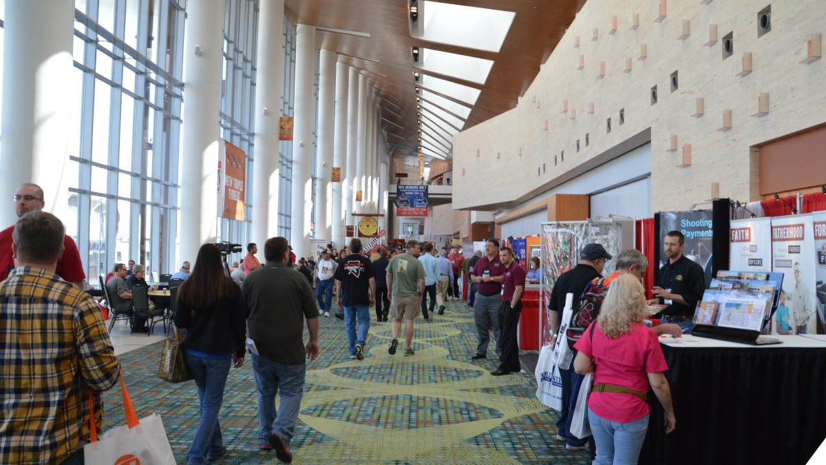 A crowd walks through the 2015 NRA Annual Meetings & Exhibits at Nashville's Music City Center