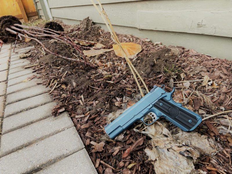 Nighthawk Custom M1911 in a desolate backyard garden