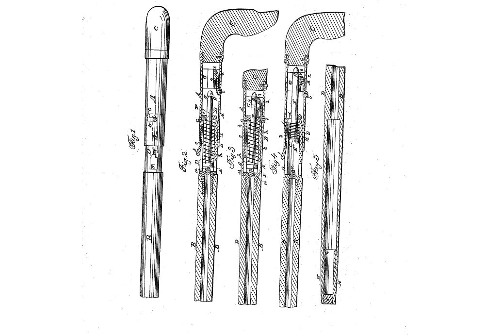 Remington Rifle Cane patent drawing