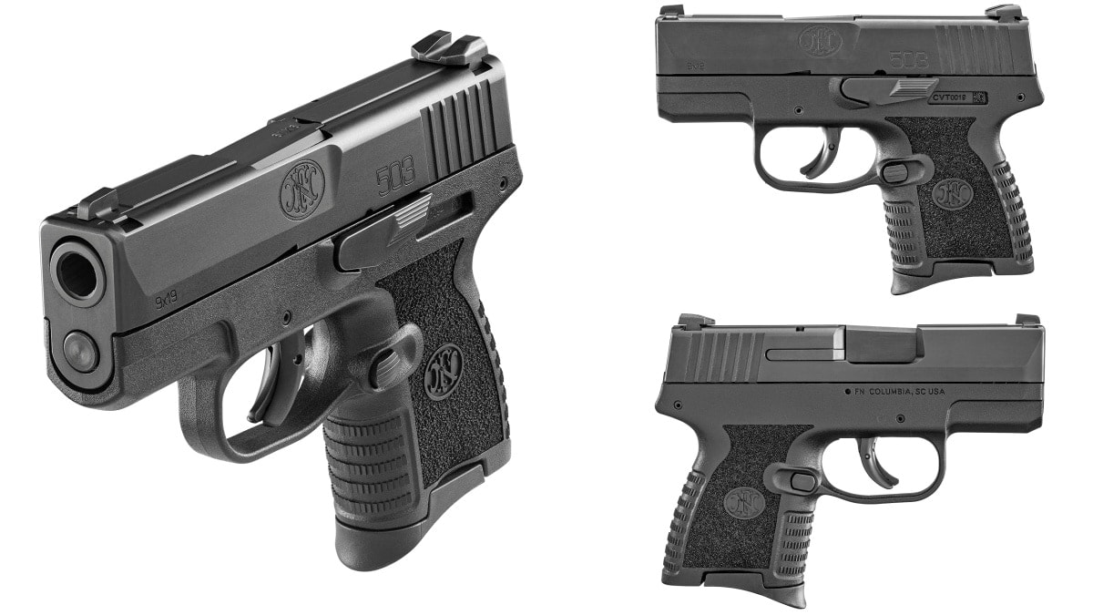A three-view lightbox collage of the FN 503, a small black 9mm subcompact pistol
