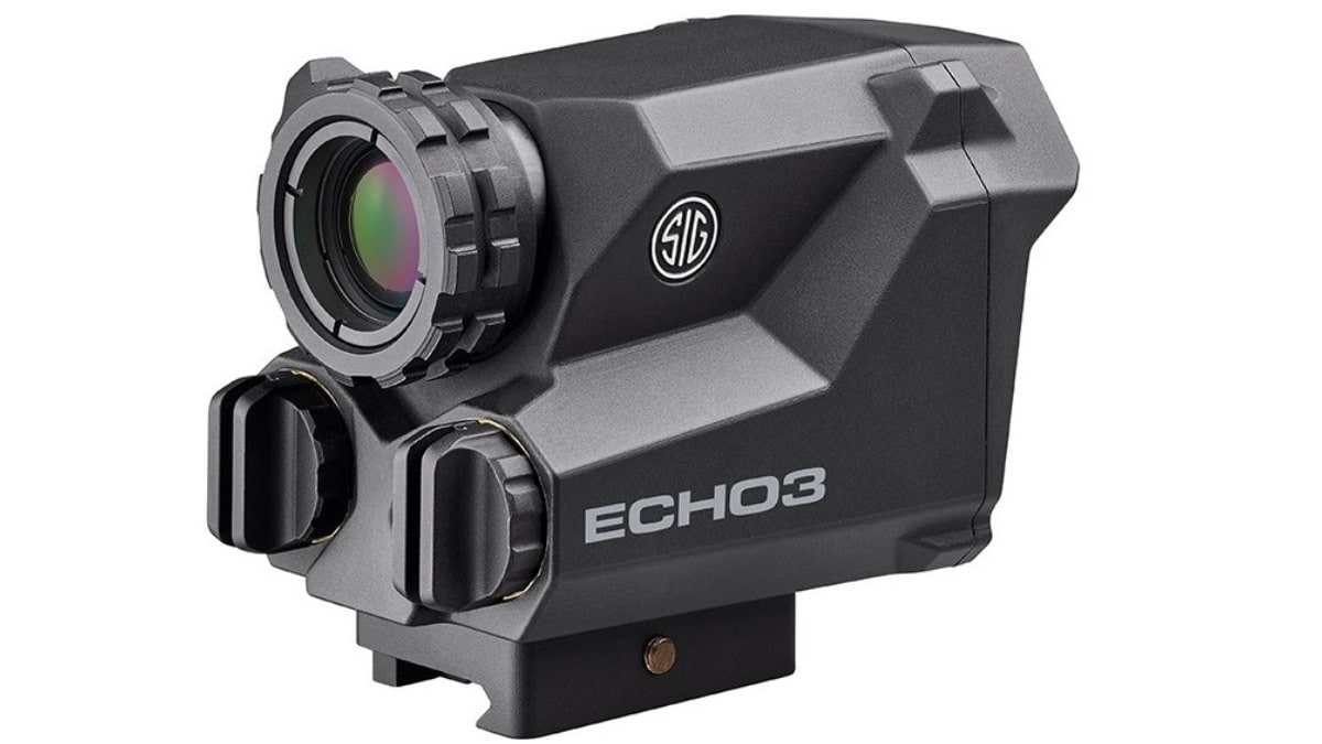A lightbox display of the new Sig Sauer ECHO3 compact thermal reflex sight