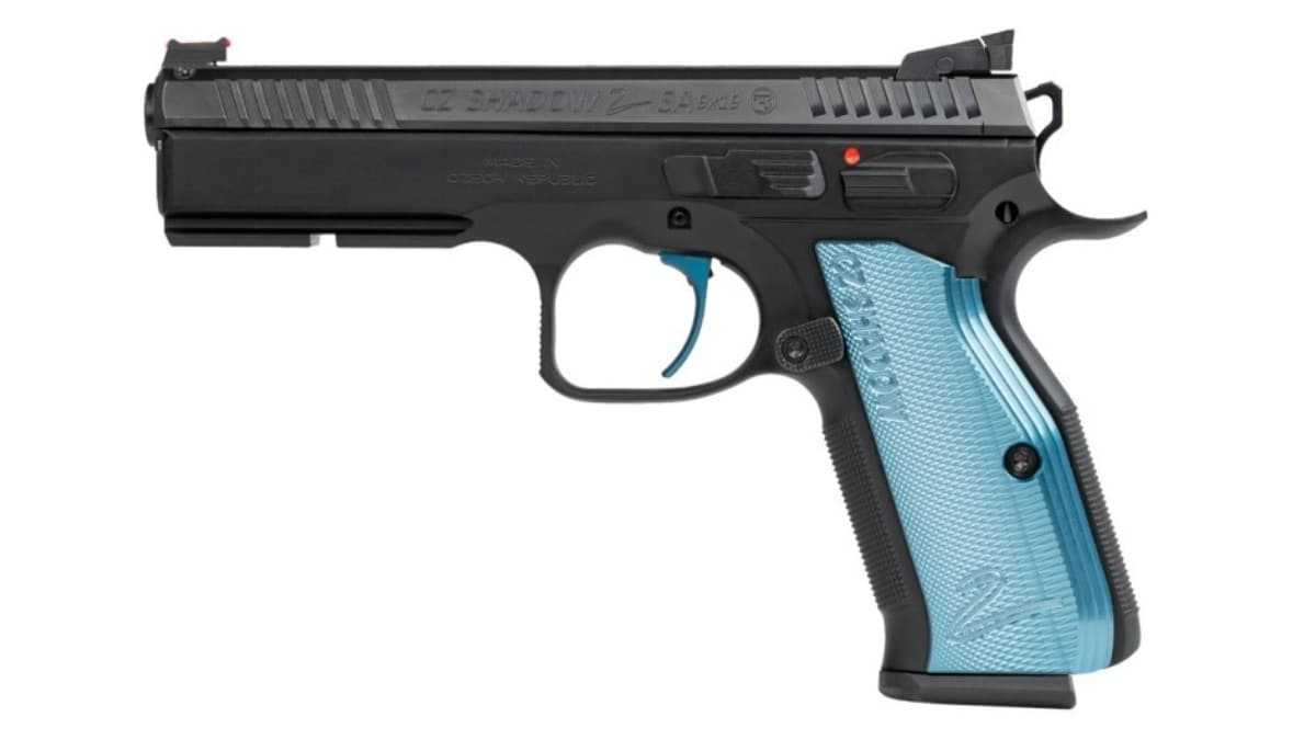 A beautiful CZ-USA Shadow 2 SA 9mm pistol with blue aluminum grips and target sights