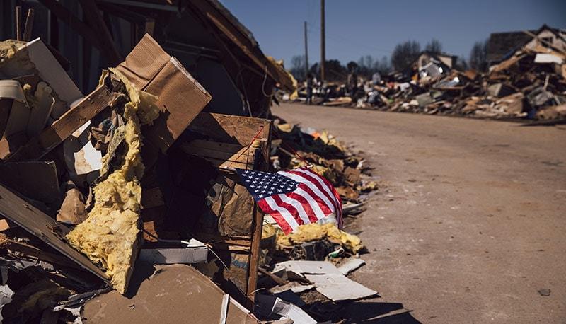 American flag debris