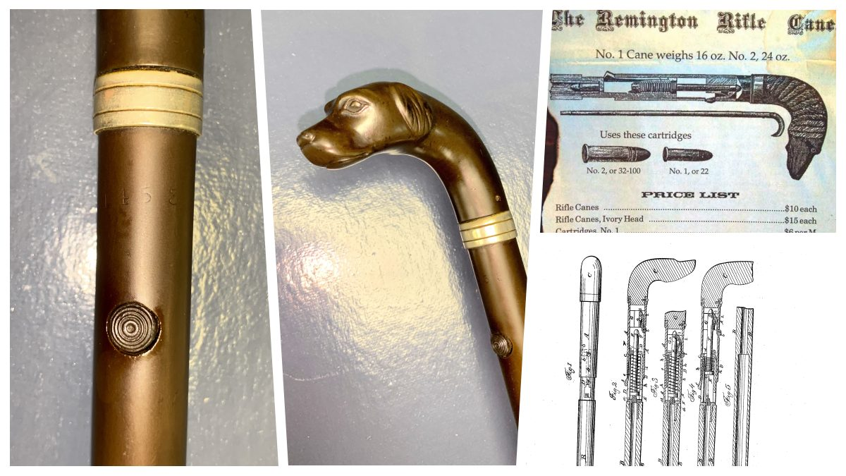 Remington Cane Rifle collage showing two views of a cane gun along with a vintage ad and patent drawing
