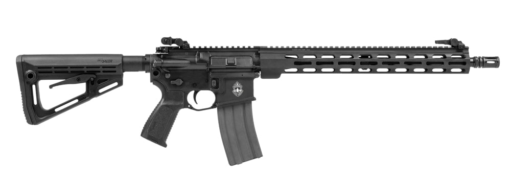 A Sig Sauer M400 PRO rifle in a lightbox