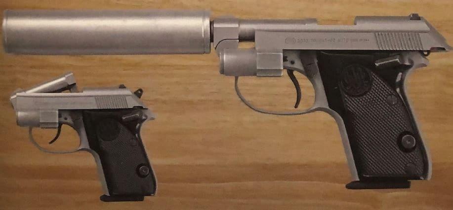 Jinx's Beretta Tomcat .32ACP, serial number DAA264306, with a laser/suppressor attachment: