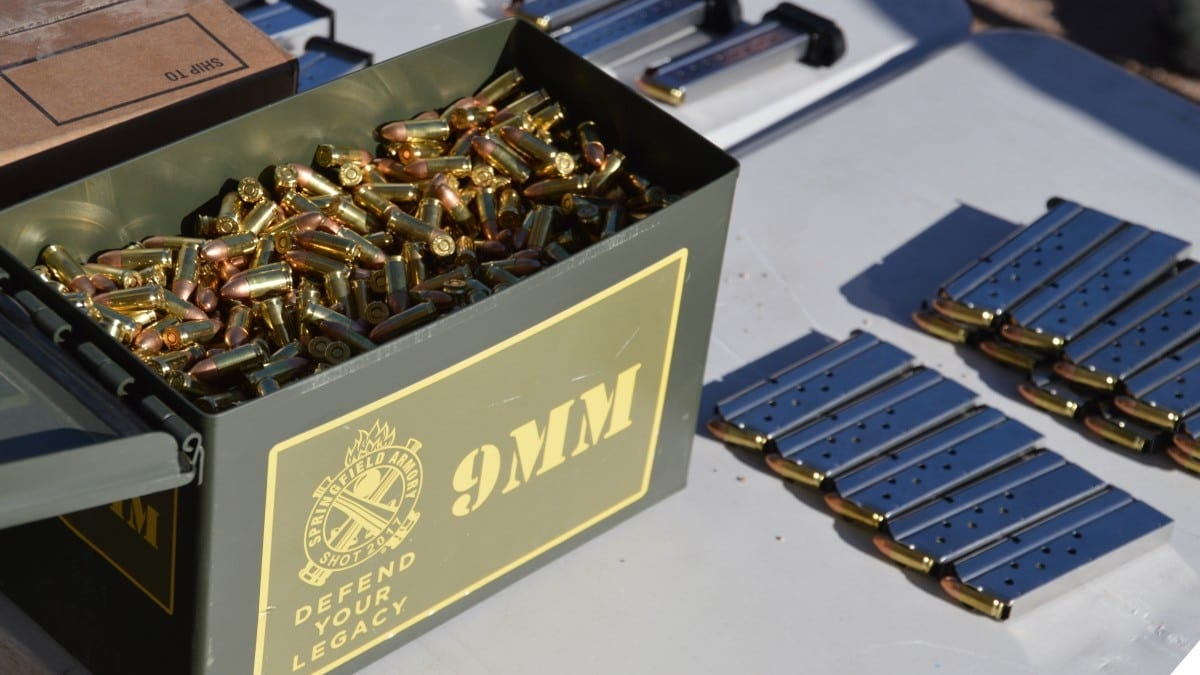 A box of 9mm ammunition marked Springfield Armory