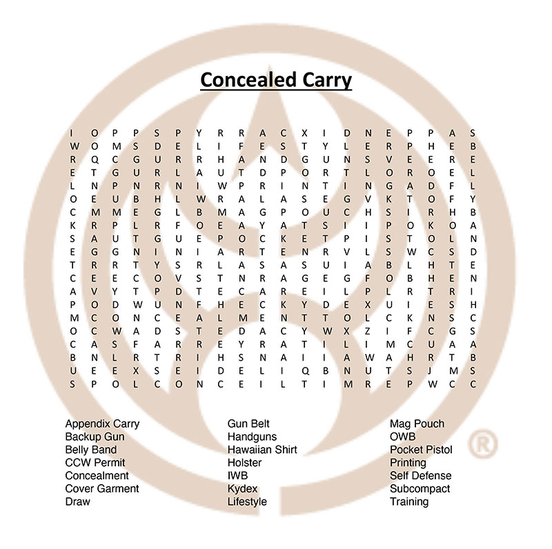 Concealed Carry Word Search