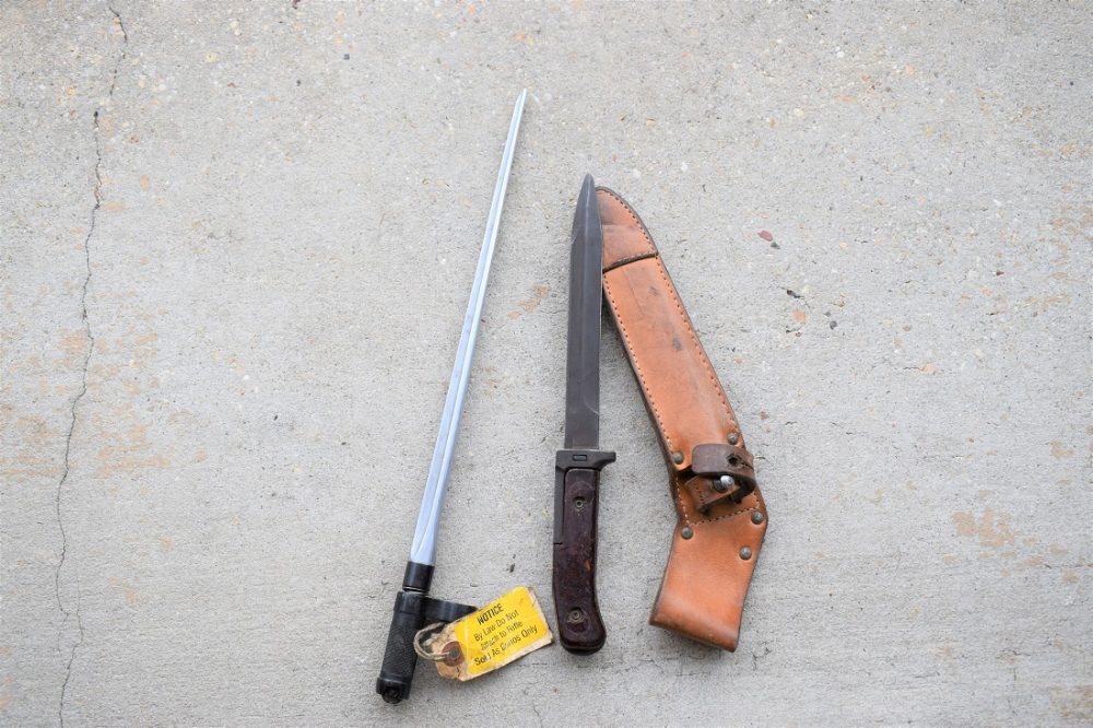 These oddballs are a Czech vz.58 pokey and a Chinese Norinco SKS spike bayonet, the latter removed during the great and expired AWB and sold as a curio (Photo: Chris Eger/Guns.com)
