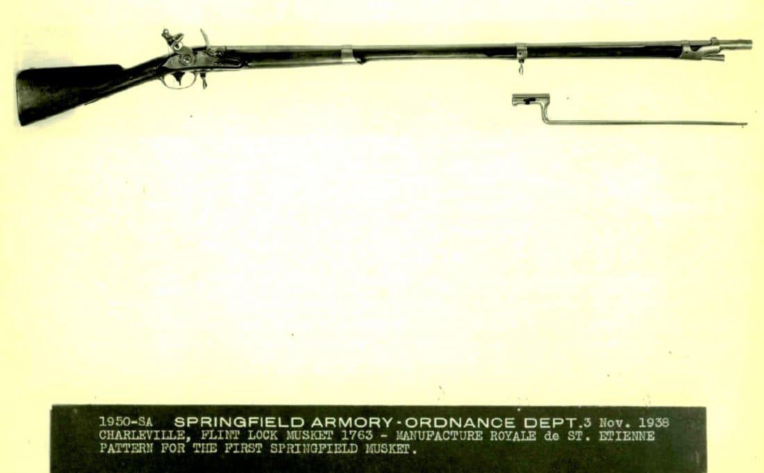 Charleville Flint Lock Musket bayonet U.S. on plate at rear of cock. Springfield 1795 1950-SA.A.1