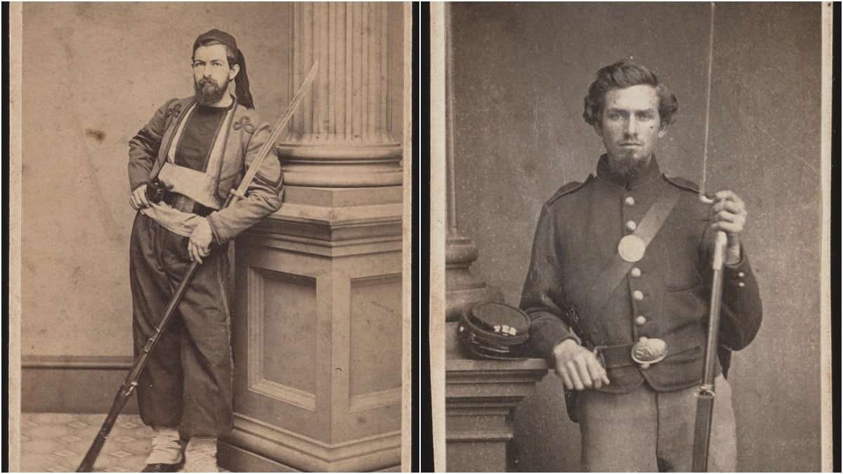 A Union soldier of the 10th Rhode Island Infantry Regiment in a Zouave uniform with a sword-style bayonet on his rifle, along with the more traditional bluecoat with a spike-style bayonet. (Photos: Library of Congress)