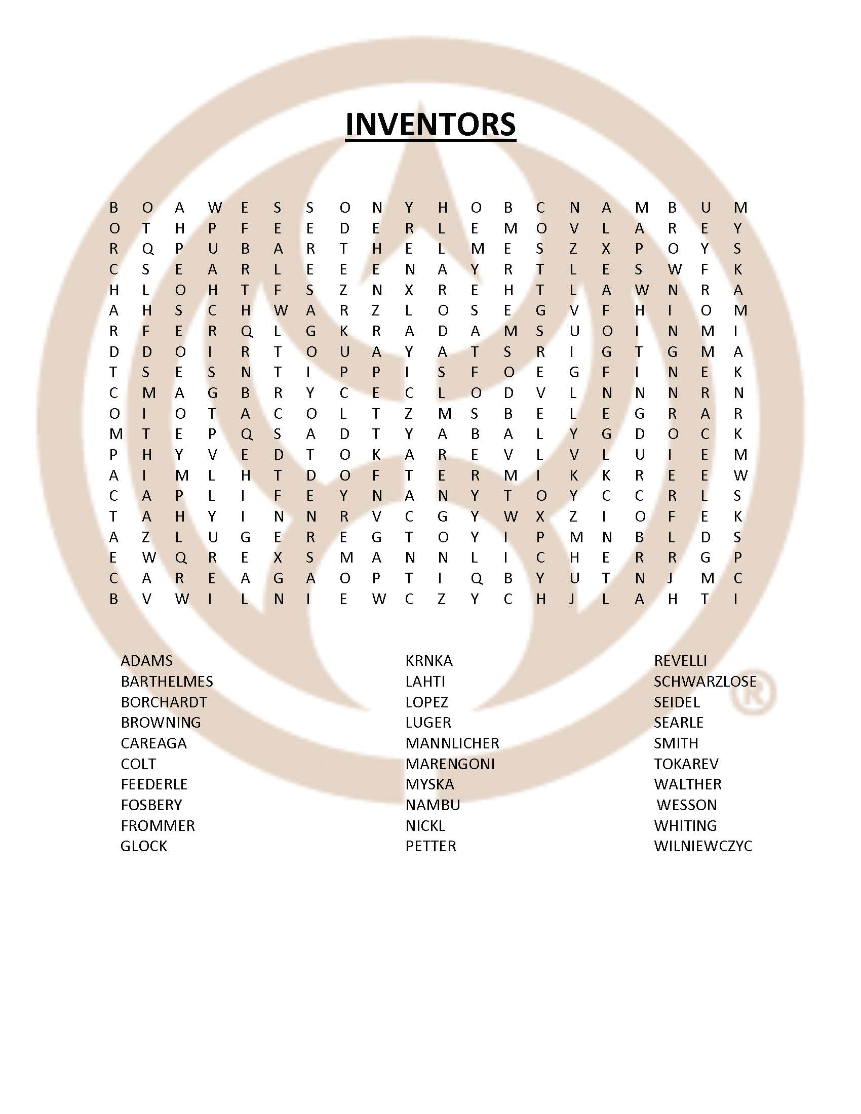 Fight Quarantine Blues with a Handgun Inventor Word Search