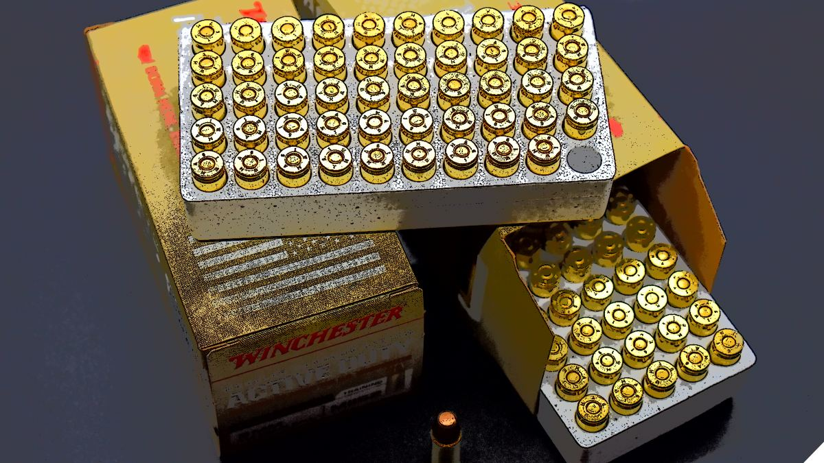 Three boxes of Winchester Active Duty 9mm ammo in a stylised image