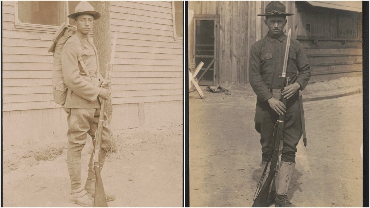 Great War-era Doughboys with a bayoneted M1898 Krag rifle and an M1903 Springfield with an M1905-style bayonet, the latter of which had been adopted after a row with President Theodore Roosevelt over its original flimsy rod-style pigsticker. (Photos: Library of Congress)