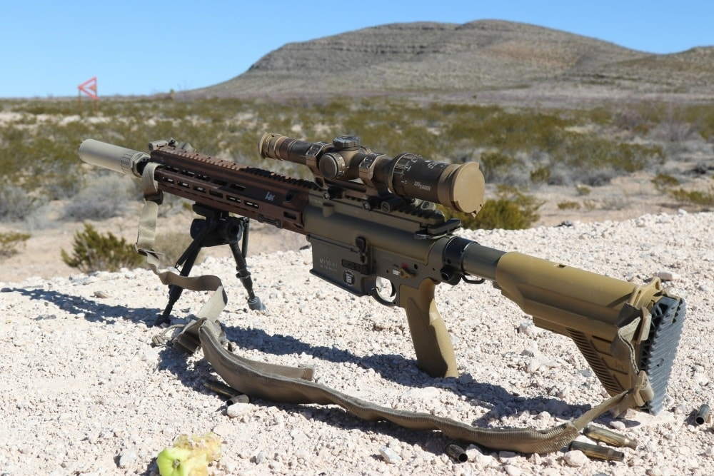 The M110A1 SDMR variant in all its glory, complete with translucent mags, HK German roll marks, offset backup sights, a Geissele mount, suppressor and Sig Tango6 optic. (Photo: U.S. Army)
