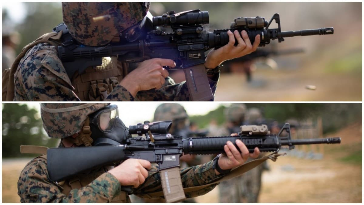 M16A4 compared to the M4A1 composite of two photos showing a Marine in an M50 gas mask firing both