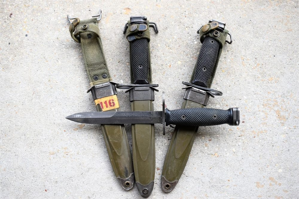 The M7 bayonet has been augmented in service with the more modern M9 and the Marine OKC3S bayonet but the humble M7 keeps on kicking. (Photo: Chris Eger/Guns.com)