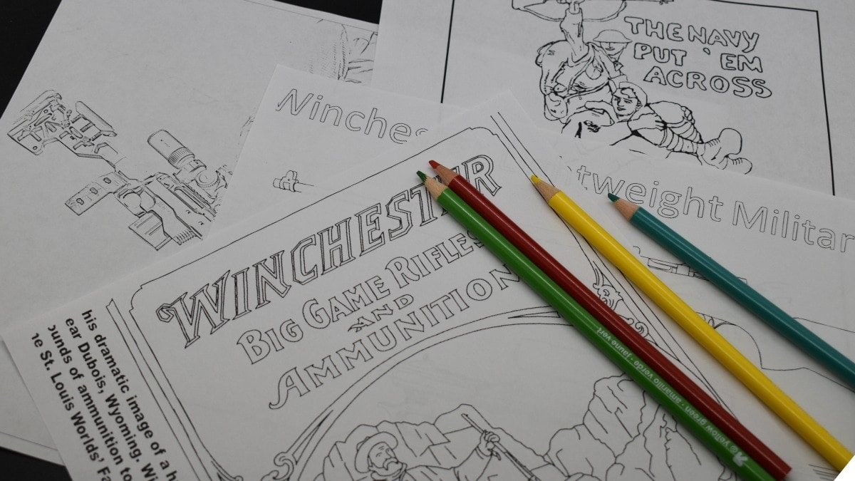 Coloring pages and colored pencils