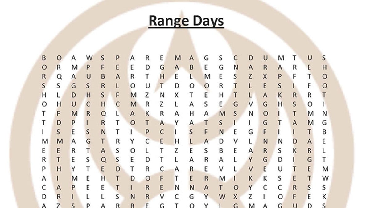 Range Day Word Search