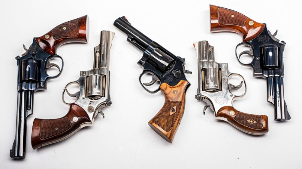 Smith Wesson Model 19 revolvers in a lightbox