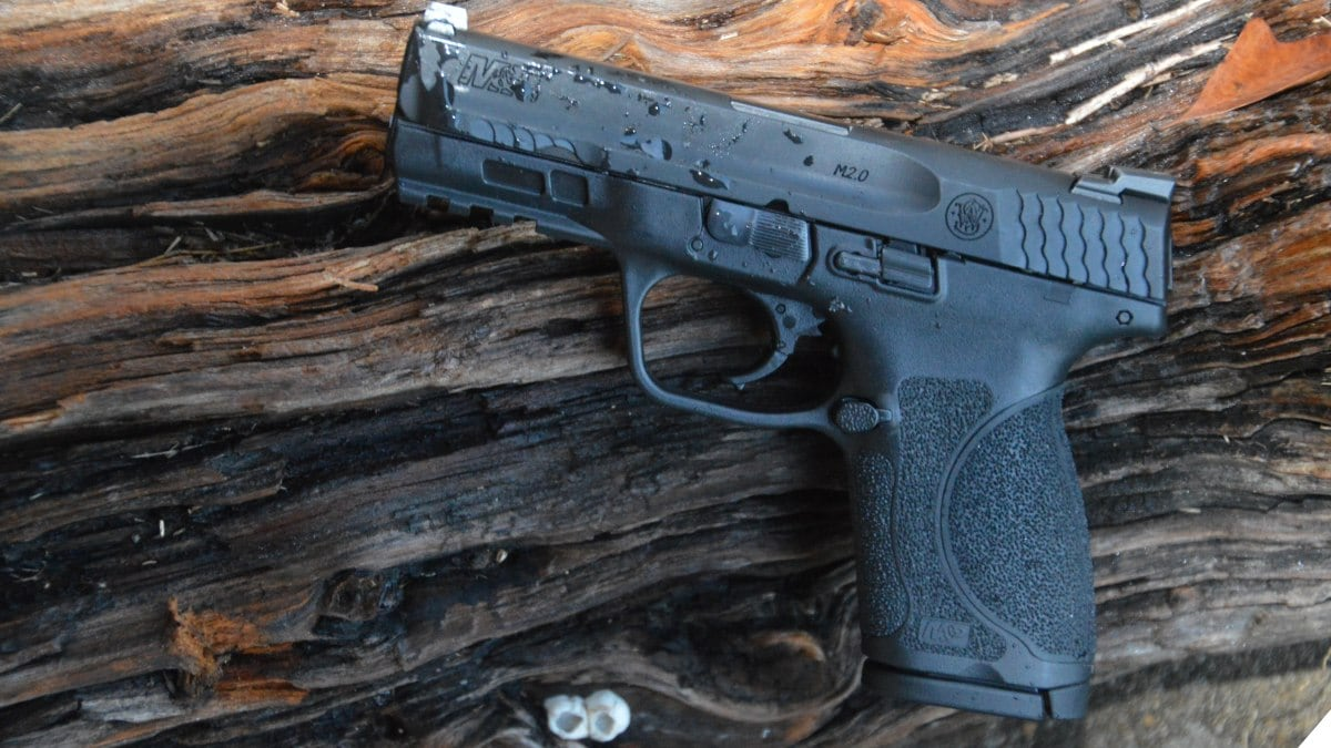 A S&W M2.0 on a wooden plank