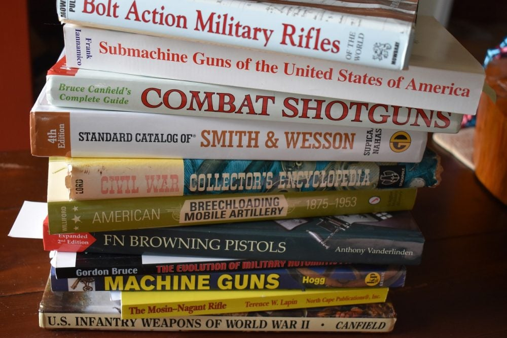 A stack of gun books