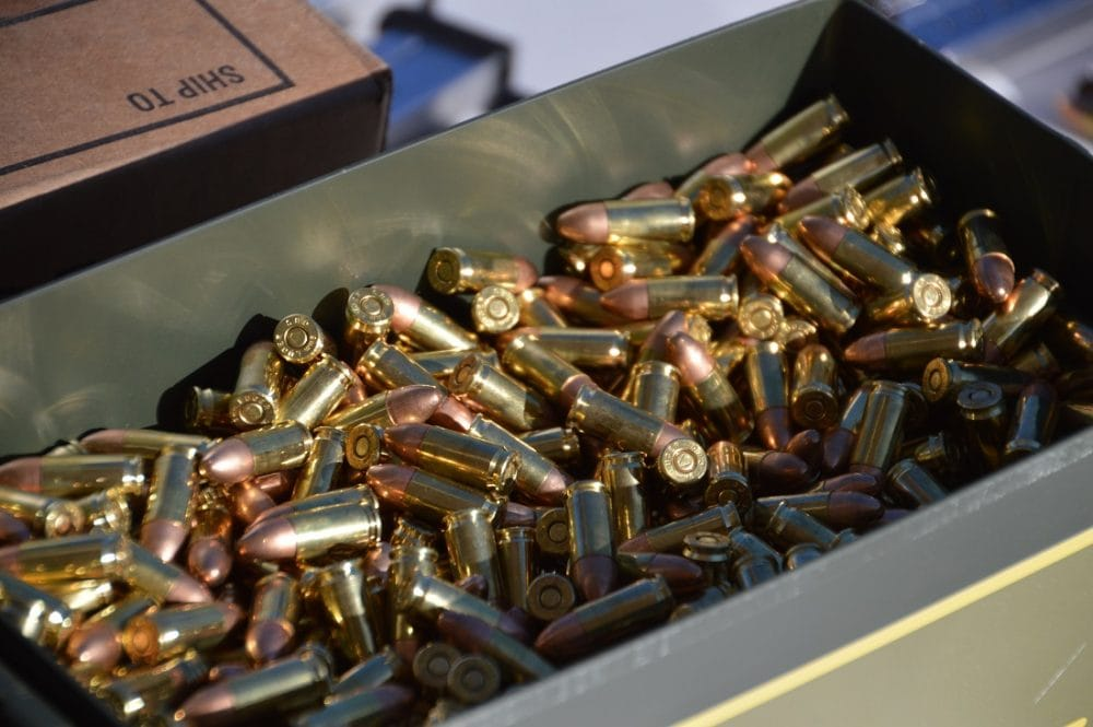 9mm brass ammo in can