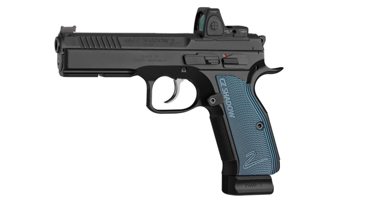 CZ Shadow 2 OR model with red dot optic and blue grips in lightbox