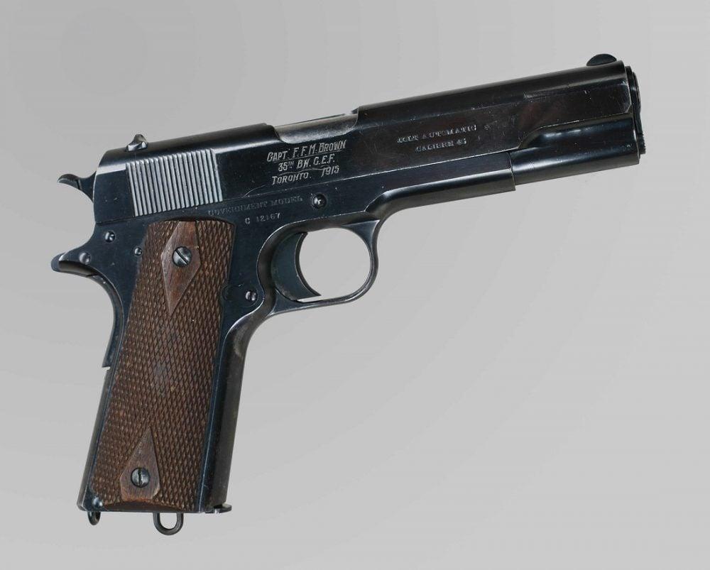 Colt .45 Calibre Automatic Pistol Capt FFMBrown 35th BM CEF Toronto 1915 Colt C12167 1911 Canadian War Museum