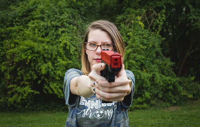 Move gun under eye