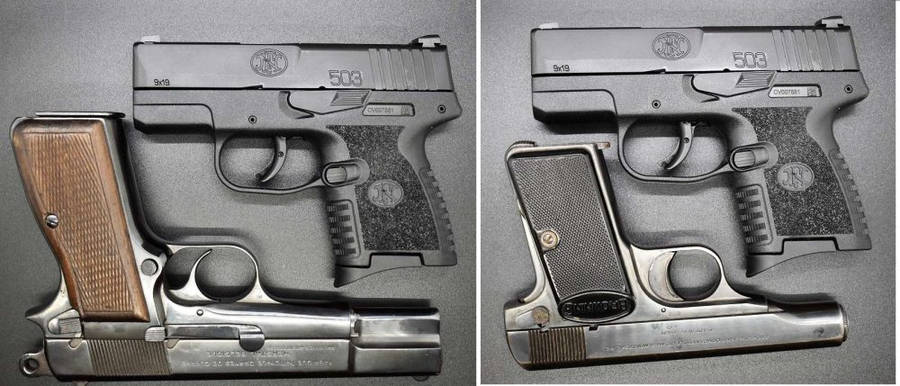 FN Model 503 Pistol compared in size to an FN Hi-Power and FN 1910