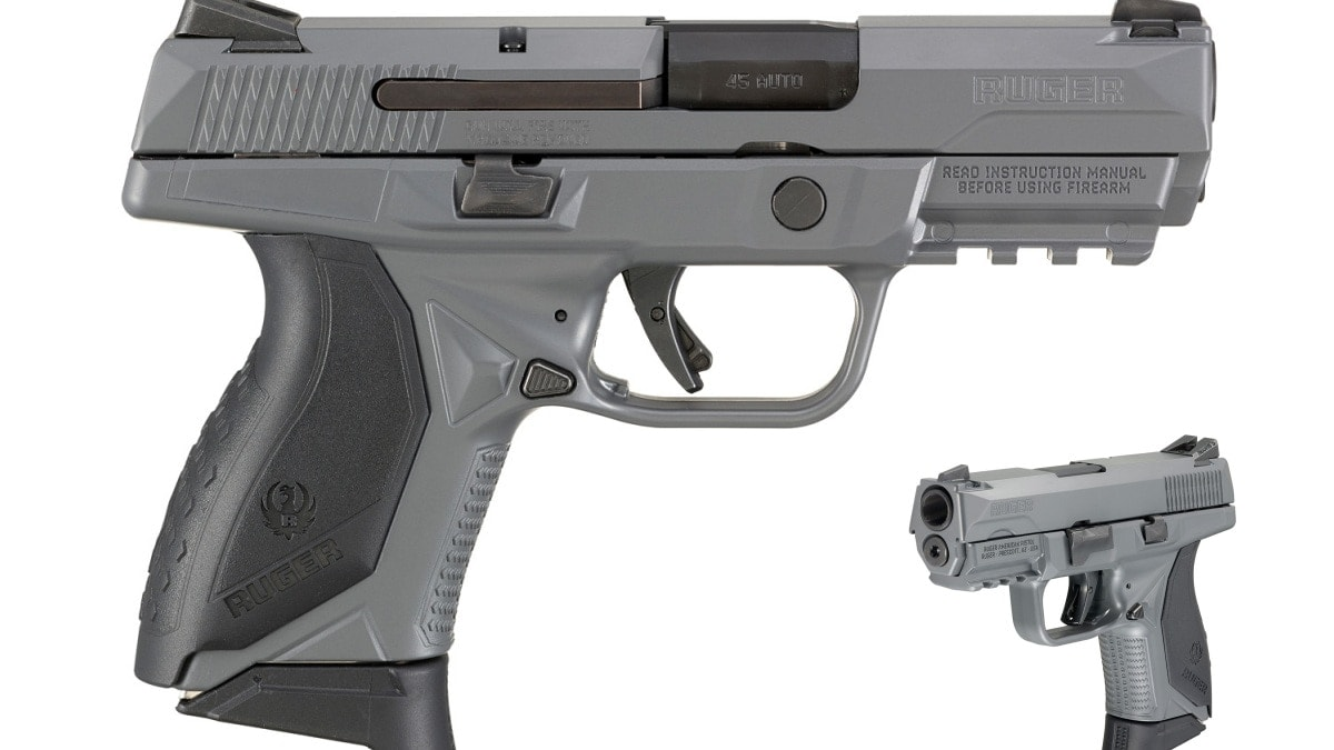 Lightbox image of a gray Ruger American Compact Pistol