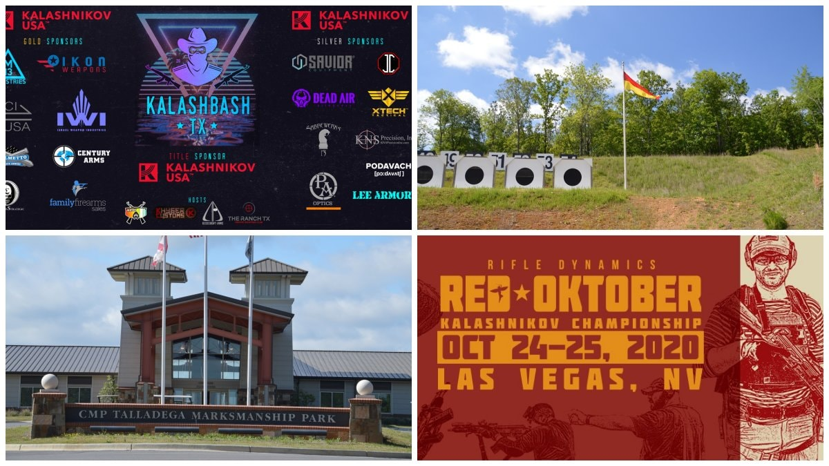 A composite of upcoming event signs and shooting range images