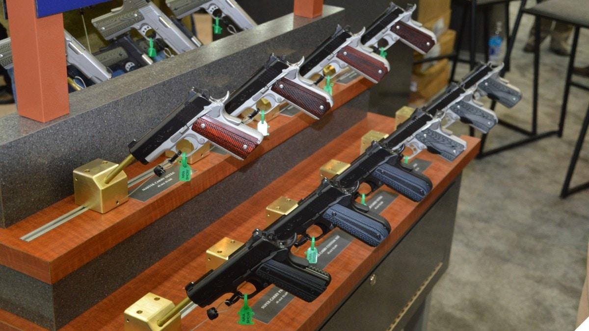 A rack of Kimber pistols