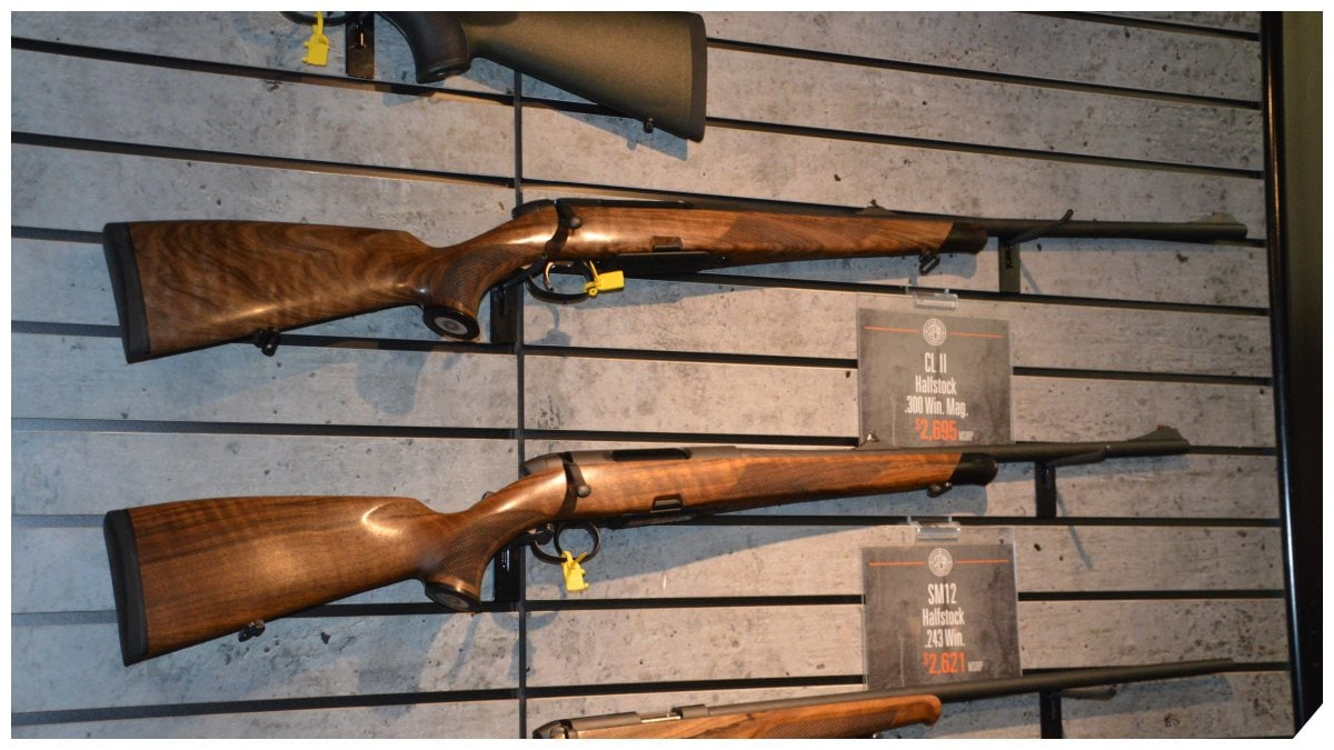 Steyr bolt action rifles on a rack